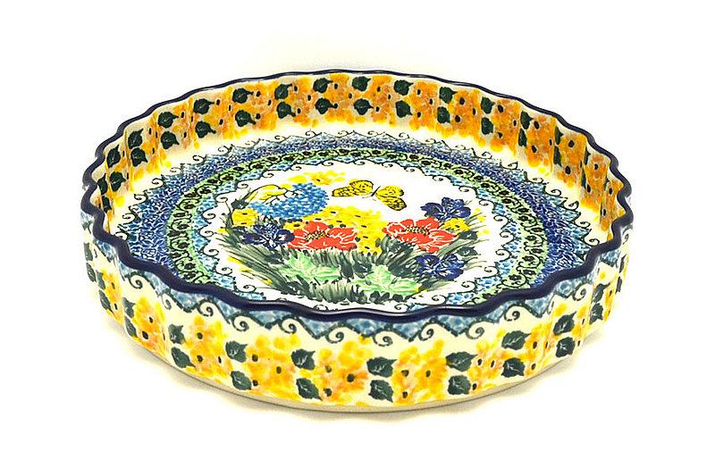 """Ceramika Artystyczna Polish Pottery Baker - Fluted Quiche - Large (9"""") - Unikat Signature - U4592 637-U4592 (Ceramika Artystyczna)"""