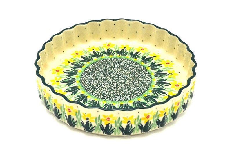 "Ceramika Artystyczna Polish Pottery Baker - Fluted Quiche - Small (7"") - Daffodil 910-2122q (Ceramika Artystyczna)"
