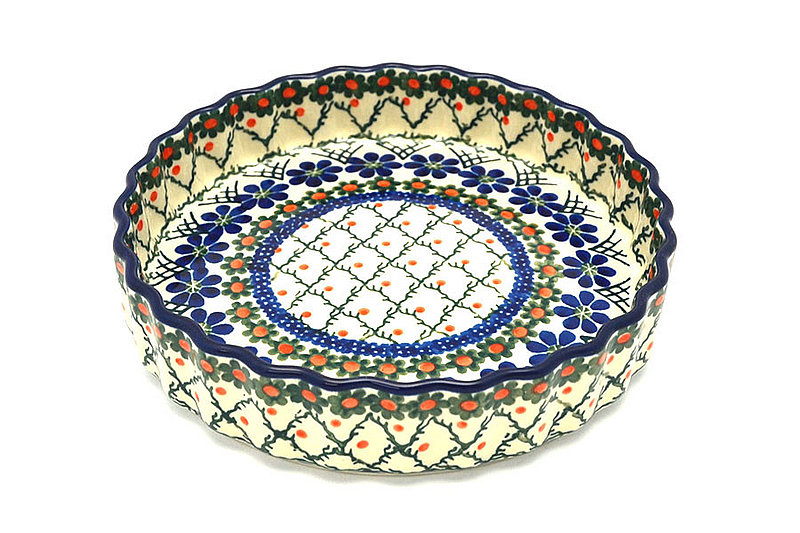 "Ceramika Artystyczna Polish Pottery Baker - Fluted Quiche - Small (7"") - Primrose 910-854a (Ceramika Artystyczna)"