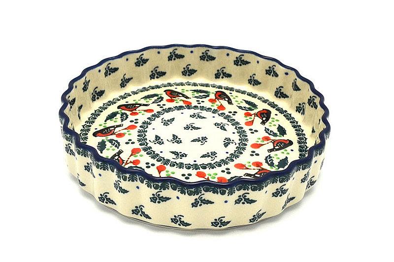 """Ceramika Artystyczna Polish Pottery Baker - Fluted Quiche - Small (7"""") - Red Robin 910-1257a (Ceramika Artystyczna)"""