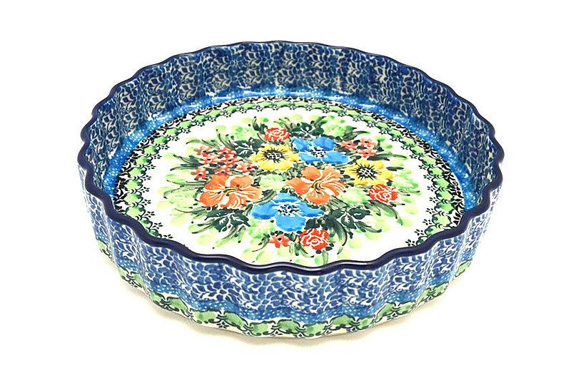 "Ceramika Artystyczna Polish Pottery Baker - Fluted Quiche - Small (7"") - Unikat Signature - U3347 910-U3347 (Ceramika Artystyczna)"
