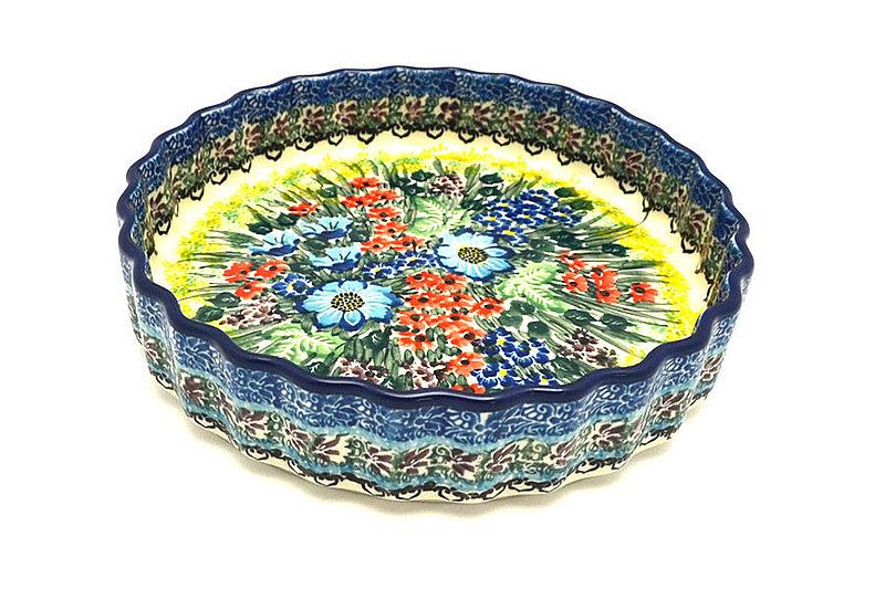"Ceramika Artystyczna Polish Pottery Baker - Fluted Quiche - Small (7"") - Unikat Signature - U4558 910-U4558 (Ceramika Artystyczna)"