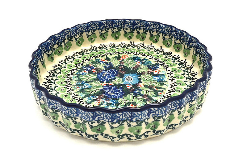 "Ceramika Artystyczna Polish Pottery Baker - Fluted Quiche - Small (7"") - Unikat Signature - U4572 910-U4572 (Ceramika Artystyczna)"