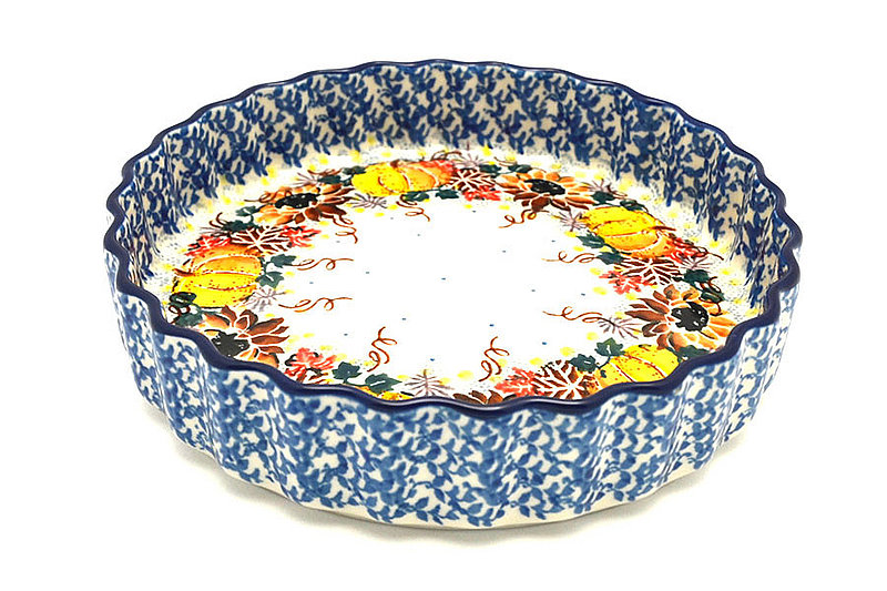 "Ceramika Artystyczna Polish Pottery Baker - Fluted Quiche - Small (7"") - Unikat Signature - U4741 910-U4741 (Ceramika Artystyczna)"