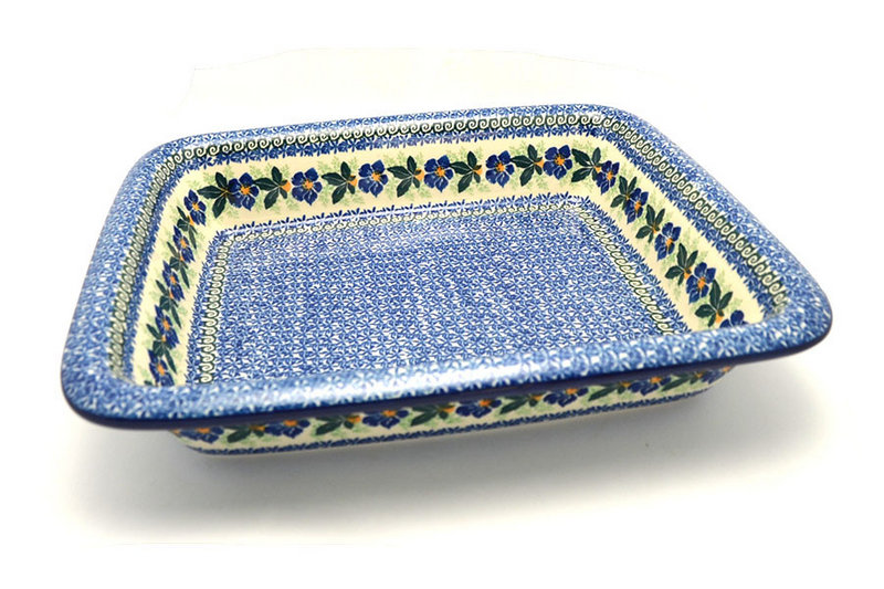 Ceramika Artystyczna Polish Pottery Baker - Lasagna - Blue Pansy 854-1552a (Ceramika Artystyczna)