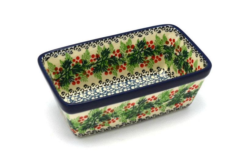 Ceramika Artystyczna Polish Pottery Baker - Mini Loaf Pan - Holly Berry 238-1734a (Ceramika Artystyczna)