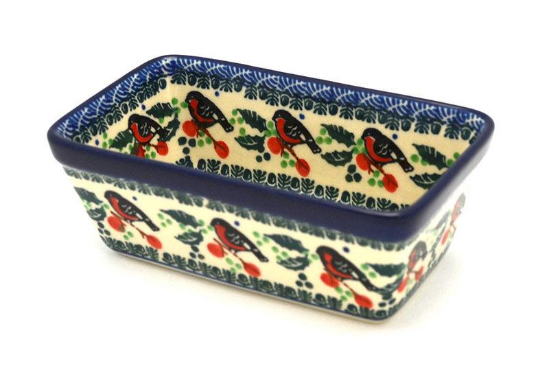 Ceramika Artystyczna Polish Pottery Baker - Mini Loaf Pan - Red Robin 238-1257a (Ceramika Artystyczna)