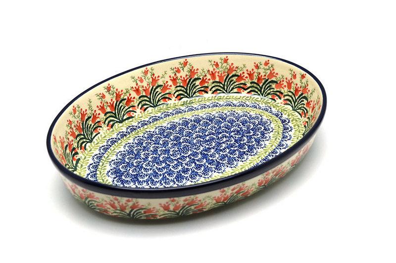Ceramika Artystyczna Polish Pottery Baker - Oval - Large - Crimson Bells 297-1437a (Ceramika Artystyczna)