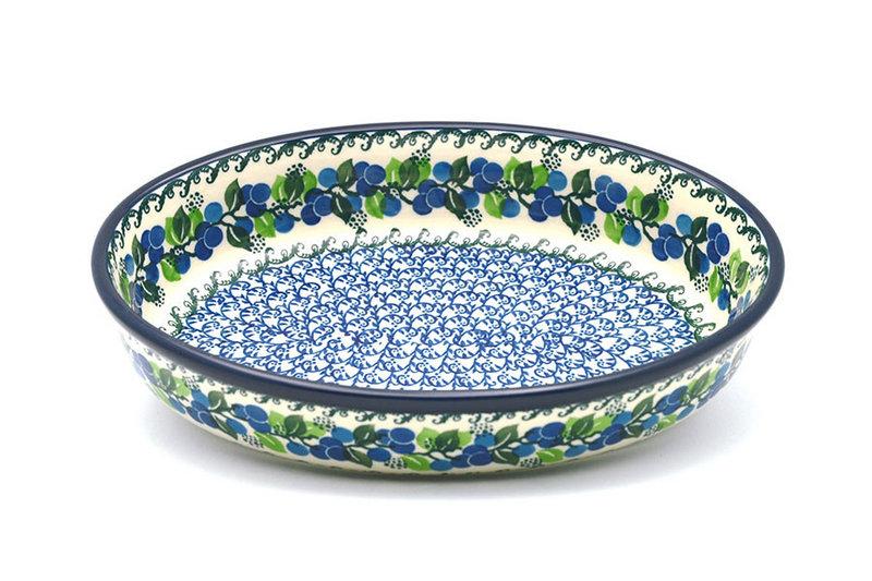 Ceramika Artystyczna Polish Pottery Baker - Oval - Medium - Blue Berries 298-1416a (Ceramika Artystyczna)