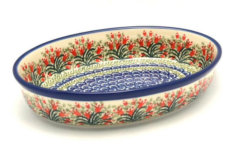 Ceramika Artystyczna Polish Pottery Baker - Oval - Medium - Crimson Bells 298-1437a (Ceramika Artystyczna)