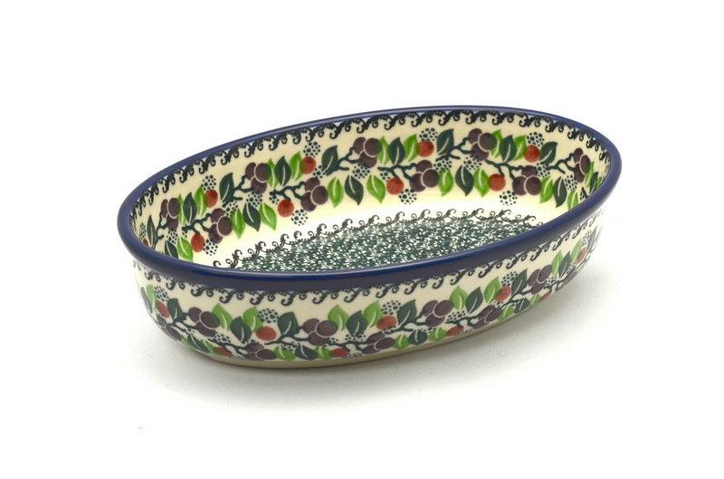 Ceramika Artystyczna Polish Pottery Baker - Oval - Small - Burgundy Berry Green 299-1415a (Ceramika Artystyczna)
