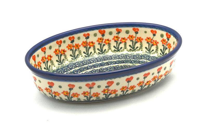 Ceramika Artystyczna Polish Pottery Baker - Oval - Small - Peach Spring Daisy 299-560a (Ceramika Artystyczna)