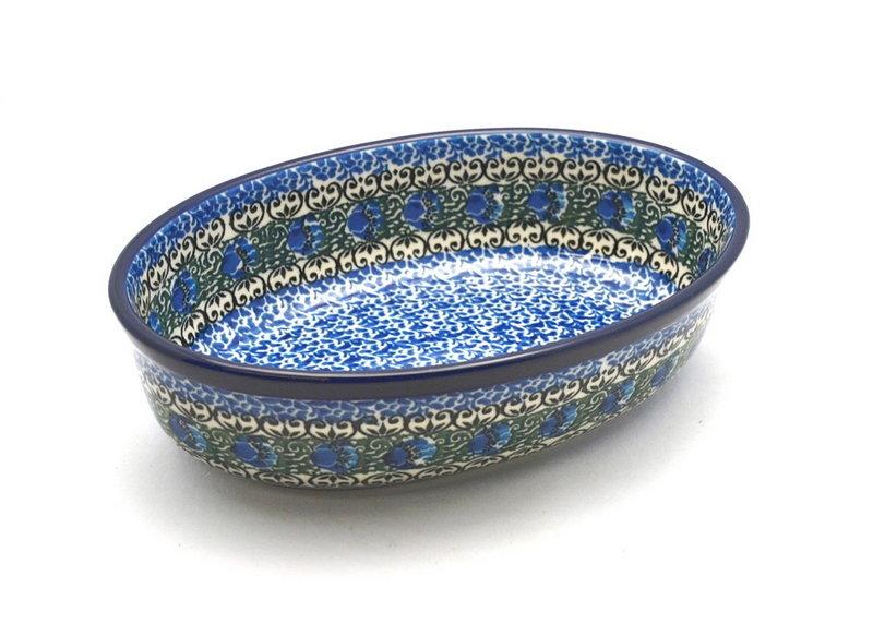 Ceramika Artystyczna Polish Pottery Baker - Oval - Small - Peacock Feather 299-1513a (Ceramika Artystyczna)