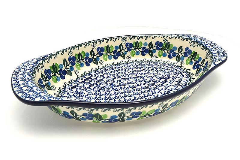 Ceramika Artystyczna Polish Pottery Baker - Oval with Handles - Blue Berries 719-1416a (Ceramika Artystyczna)