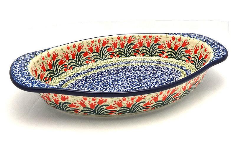 Ceramika Artystyczna Polish Pottery Baker - Oval with Handles - Crimson Bells 719-1437a (Ceramika Artystyczna)