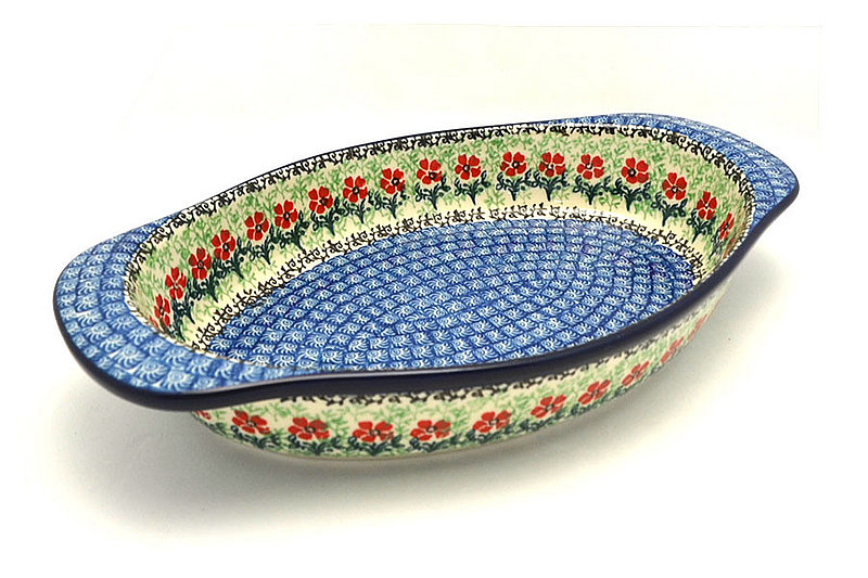 Ceramika Artystyczna Polish Pottery Baker - Oval with Handles - Maraschino 719-1916a (Ceramika Artystyczna)