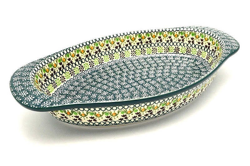 Ceramika Artystyczna Polish Pottery Baker - Oval with Handles - Mint Chip 719-2195q (Ceramika Artystyczna)