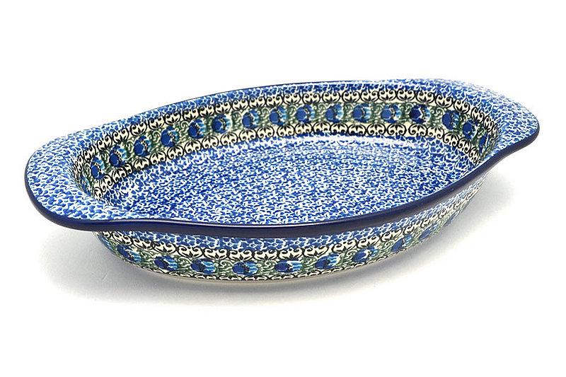 Ceramika Artystyczna Polish Pottery Baker - Oval with Handles - Peacock Feather 719-1513a (Ceramika Artystyczna)