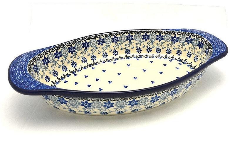 Ceramika Artystyczna Polish Pottery Baker - Oval with Handles - Silver Lace 719-2158a (Ceramika Artystyczna)