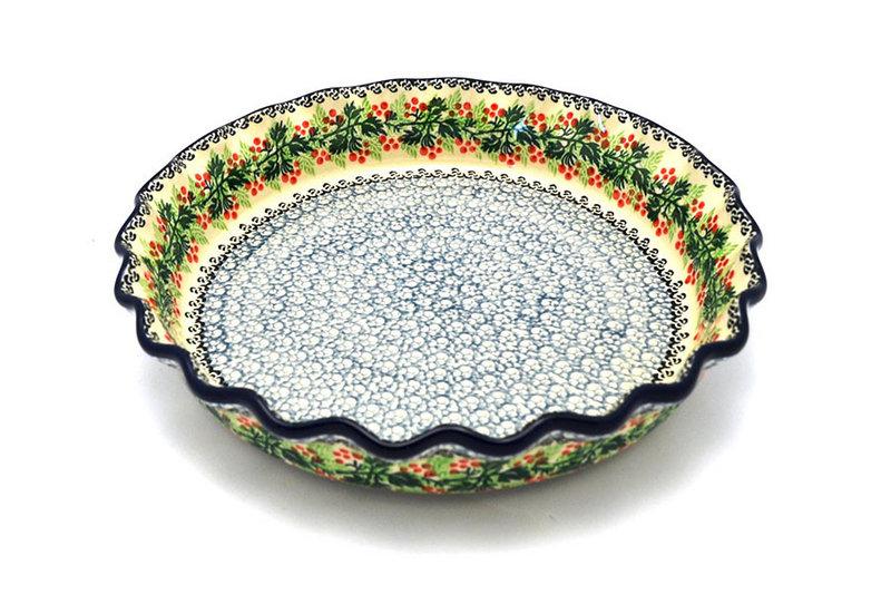 Ceramika Artystyczna Polish Pottery Baker - Pie Dish - Fluted - Holly Berry 636-1734a (Ceramika Artystyczna)