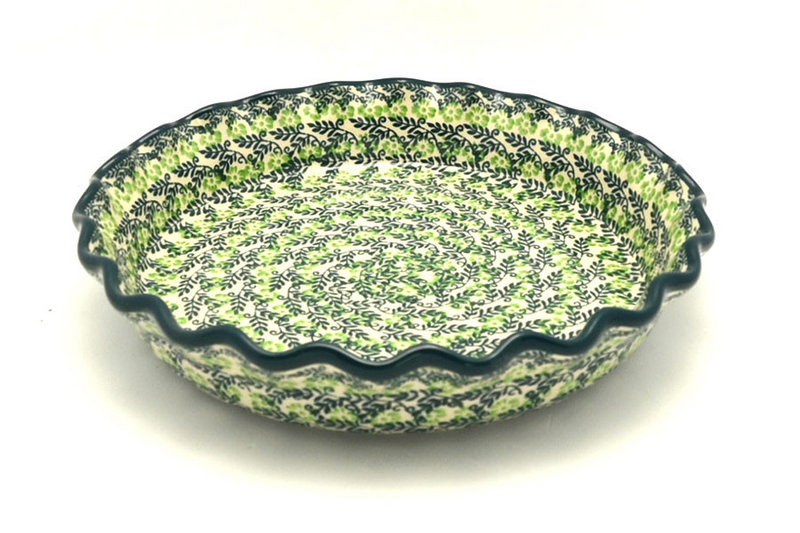 Ceramika Artystyczna Polish Pottery Baker - Pie Dish - Fluted - Irish Meadow 636-1888q (Ceramika Artystyczna)