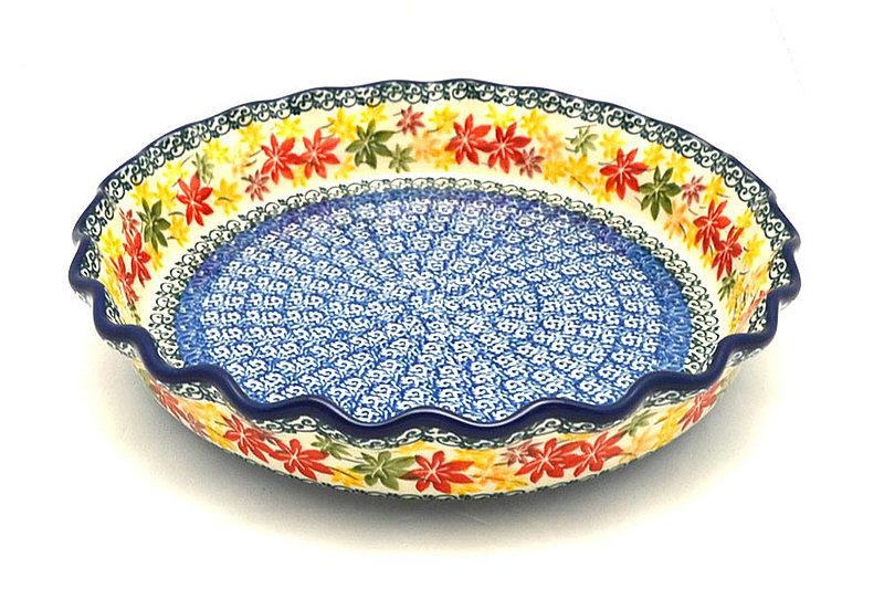 Ceramika Artystyczna Polish Pottery Baker - Pie Dish - Fluted - Maple Harvest 636-2533a (Ceramika Artystyczna)