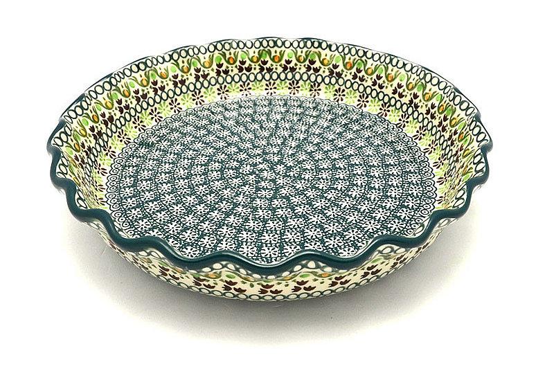 Ceramika Artystyczna Polish Pottery Baker - Pie Dish - Fluted - Mint Chip 636-2195q (Ceramika Artystyczna)