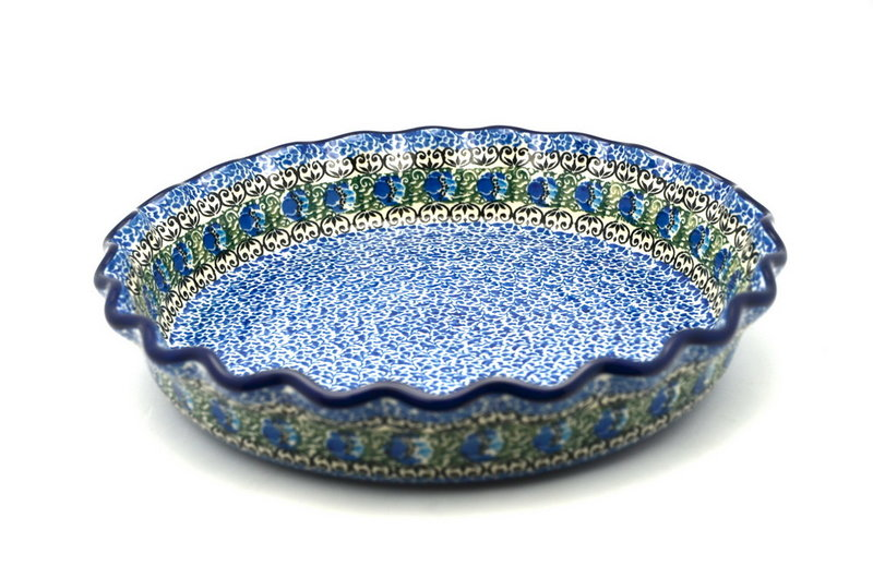 Polish Pottery Baker - Pie Dish - Fluted - Peacock Feather