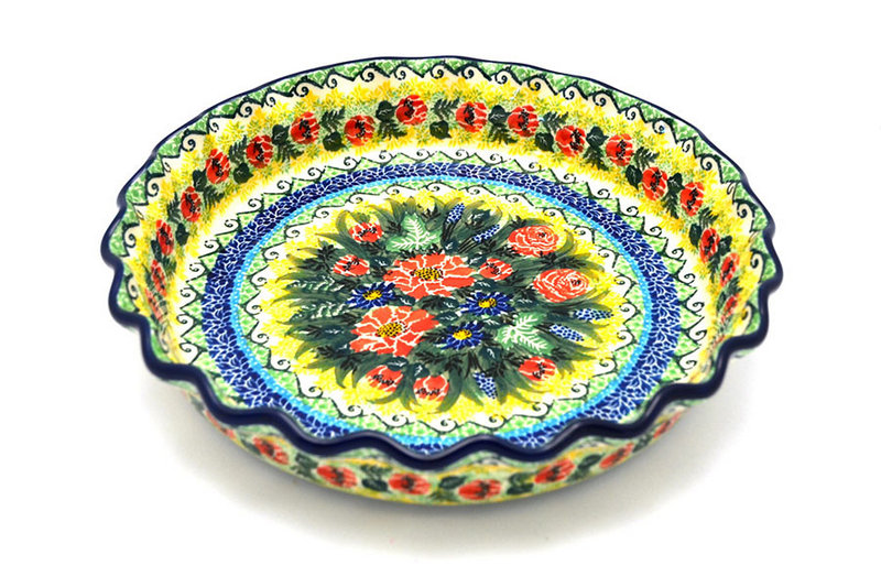 Ceramika Artystyczna Polish Pottery Baker - Pie Dish - Fluted - Unikat Signature U4610 636-U4610 (Ceramika Artystyczna)