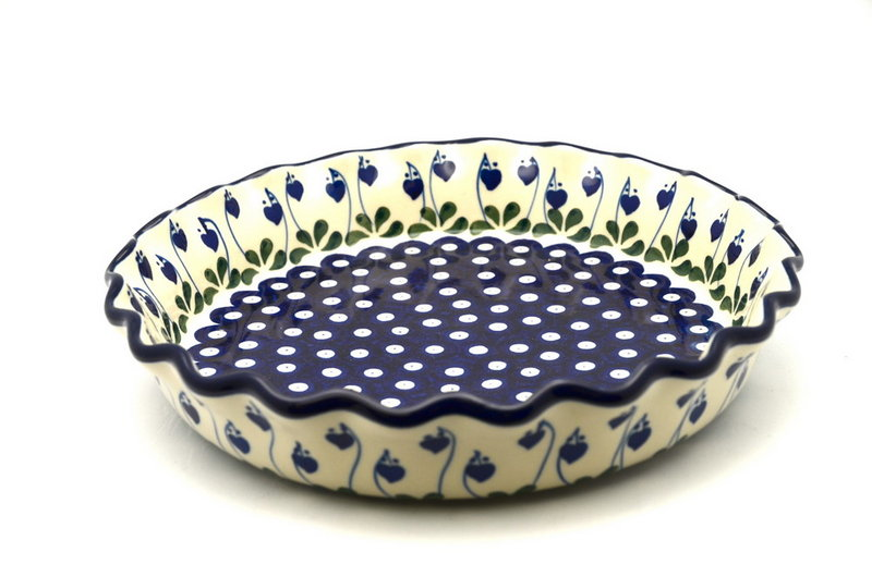 Ceramika Artystyczna Polish Pottery Baker - Pie/Quiche - Fluted - Bleeding Heart 636-377o (Ceramika Artystyczna)