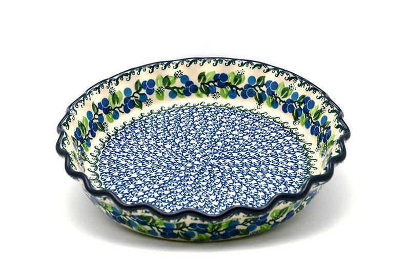 Ceramika Artystyczna Polish Pottery Baker - Pie/Quiche - Fluted - Blue Berries 636-1416a (Ceramika Artystyczna)