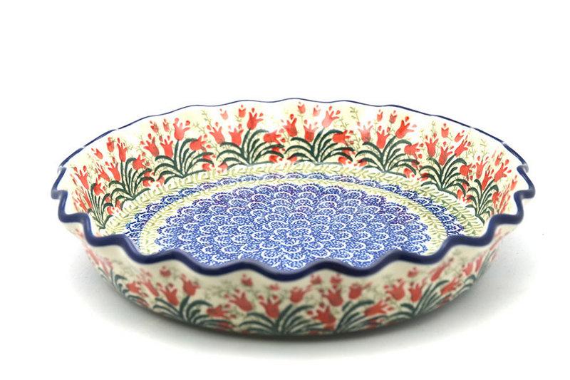 Ceramika Artystyczna Polish Pottery Baker - Pie/Quiche - Fluted - Crimson Bells 636-1437a (Ceramika Artystyczna)