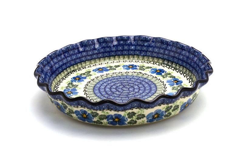 Polish Pottery Baker - Pie/Quiche - Fluted - Morning Glory
