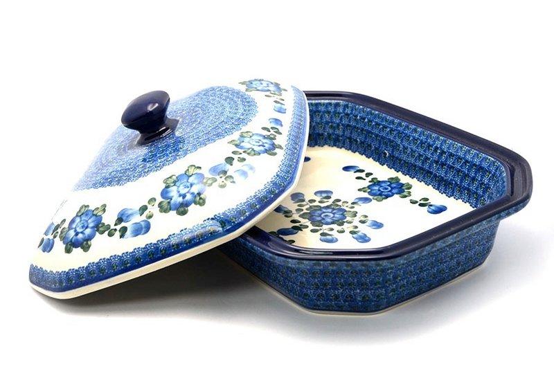Ceramika Artystyczna Polish Pottery Baker - Rectangular Covered - Large - Blue Poppy 665-163a (Ceramika Artystyczna)
