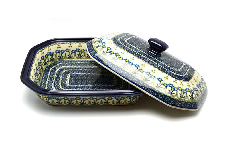 Polish Pottery Baker - Rectangular Covered - Large - Blue Spring Daisy