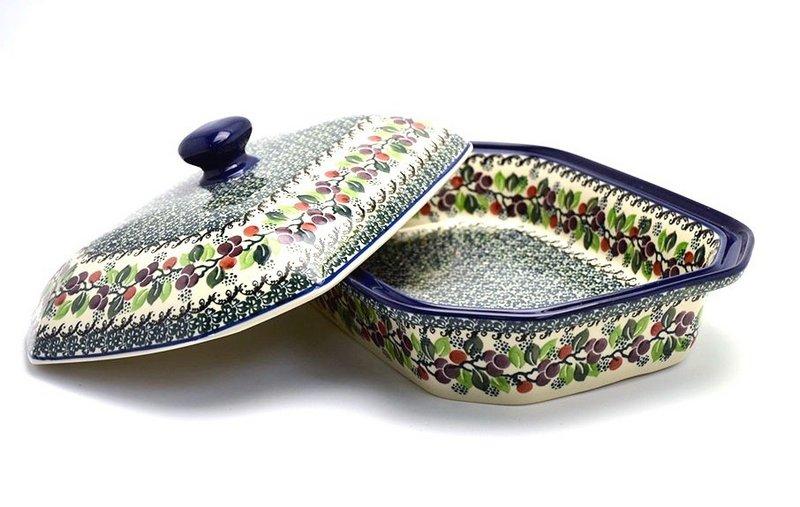 Ceramika Artystyczna Polish Pottery Baker - Rectangular Covered - Large - Burgundy Berry Green 665-1415a (Ceramika Artystyczna)