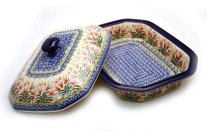 Ceramika Artystyczna Polish Pottery Baker - Rectangular Covered - Large - Crimson Bells 665-1437a (Ceramika Artystyczna)