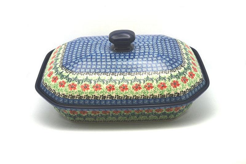 Ceramika Artystyczna Polish Pottery Baker - Rectangular Covered - Large - Maraschino 665-1916a (Ceramika Artystyczna)