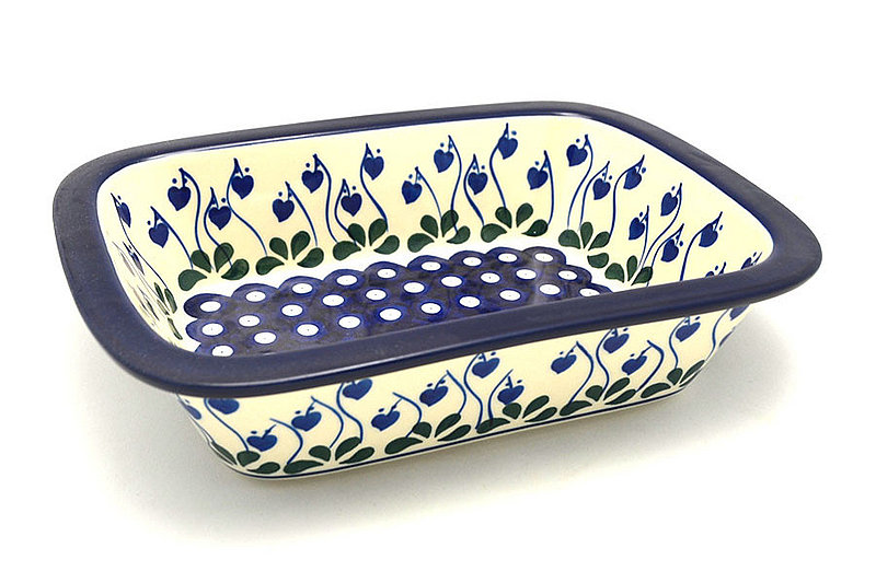 Ceramika Artystyczna Polish Pottery Baker - Rectangular with Grip Lip - Bleeding Heart 162-377o (Ceramika Artystyczna)
