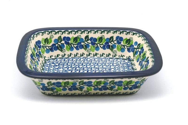 Ceramika Artystyczna Polish Pottery Baker - Rectangular with Grip Lip - Blue Berries 162-1416a (Ceramika Artystyczna)