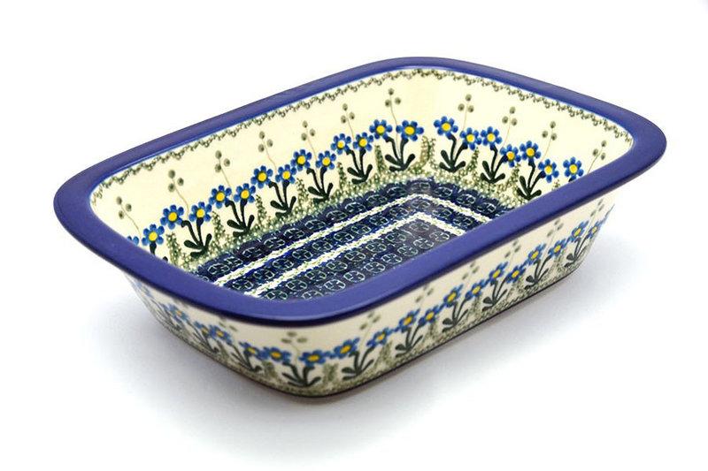 Ceramika Artystyczna Polish Pottery Baker - Rectangular with Grip Lip - Blue Spring Daisy 162-614a (Ceramika Artystyczna)