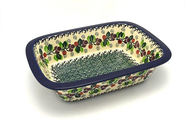 Ceramika Artystyczna Polish Pottery Baker - Rectangular with Grip Lip - Burgundy Berry Green 162-1415a (Ceramika Artystyczna)