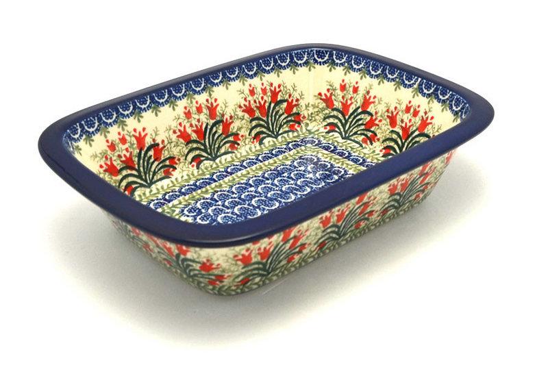 Ceramika Artystyczna Polish Pottery Baker - Rectangular with Grip Lip - Crimson Bells 162-1437a (Ceramika Artystyczna)