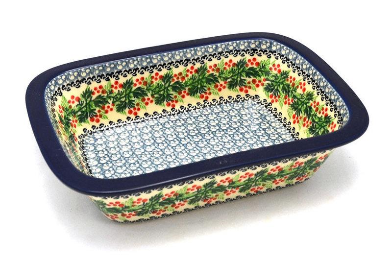 Ceramika Artystyczna Polish Pottery Baker - Rectangular with Grip Lip - Holly Berry 162-1734a (Ceramika Artystyczna)