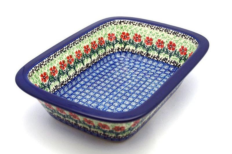 Polish Pottery Baker - Rectangular with Grip Lip - Maraschino