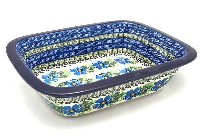 Polish Pottery Baker - Rectangular with Grip Lip - Morning Glory