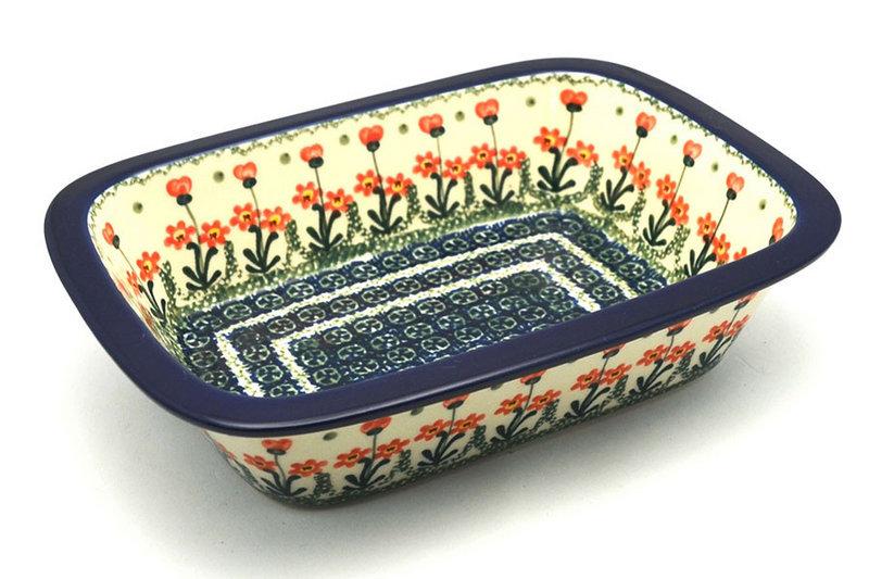 Ceramika Artystyczna Polish Pottery Baker - Rectangular with Grip Lip - Peach Spring Daisy 162-560a (Ceramika Artystyczna)