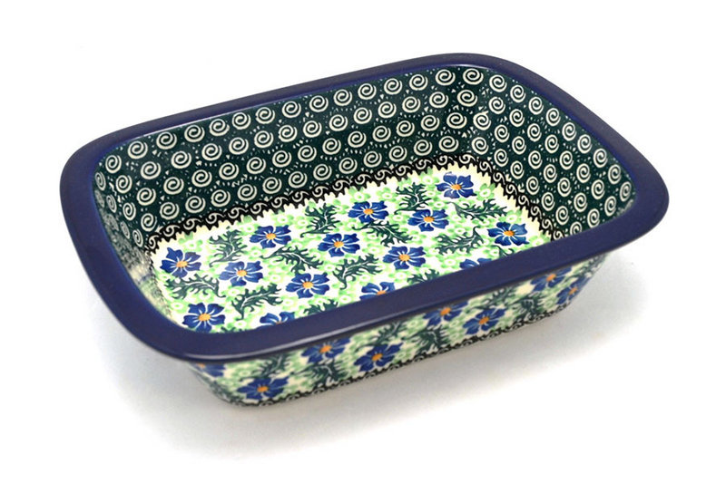 Ceramika Artystyczna Polish Pottery Baker - Rectangular with Grip Lip - Sweet Violet 162-1538a (Ceramika Artystyczna)
