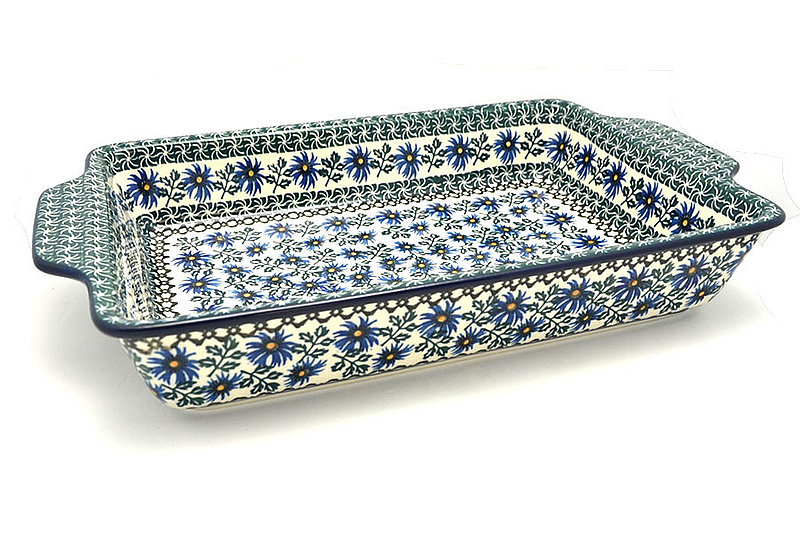 Polish Pottery Baker - Rectangular with Tab Handles - 12 cups - Blue Chicory