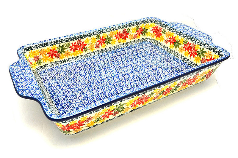 Polish Pottery Baker - Rectangular with Tab Handles - 12 cups - Maple Harvest